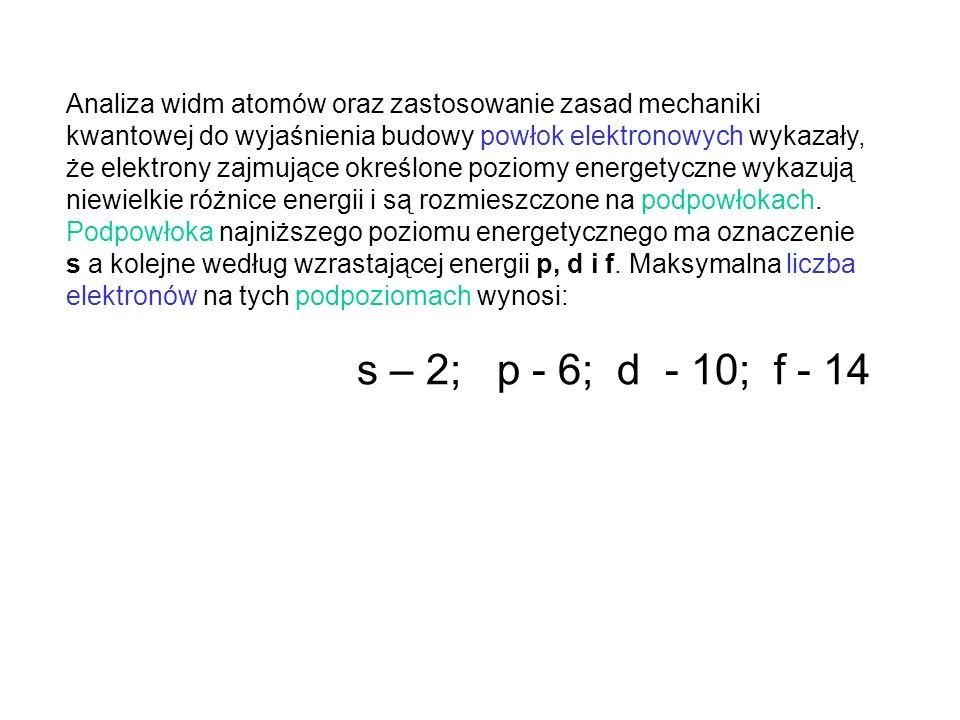 Jeżeli w zapisie konfiguracji elektronowej atomów uwzględnimy podział powłok elektronowych na podpoziomy energetyczne (s, p, d i f), otrzymamy nowy bardziej czytelny sposób rozmieszczenia elektronów w atomie: 11 Na - (2, 8, 1), 12 Mg - (2, 8, 2) --> 11 Na - 1s 2 2s 2 2p 6 3s 1, 12 Mg - 1s 2 2s 2 2p 6 3s 2 Przy nowym sposobie przedstawiania konfiguracji elektronowej atomów, należy przed symbolem podpoziomu energetycznego umieścić liczbę równą numerowi powłoki (n = 1, 2, 3, 4..).