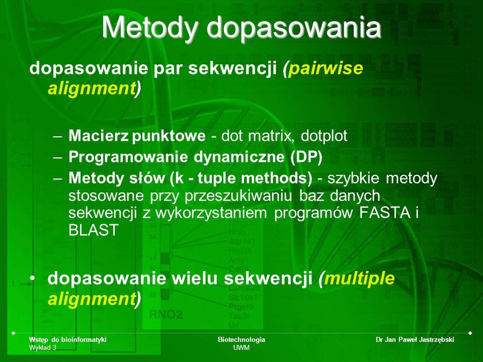 Wstęp do bioinformatyki Wykład 3 Biotechnologia UWM Dr Jan Paweł Jastrzębski Metody dopasowania dopasowanie par sekwencji (pairwise alignment) –Macier