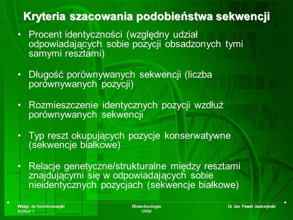 Wstęp do bioinformatyki Wykład 3 Biotechnologia UWM Dr Jan Paweł Jastrzębski Procent identyczności (względny udział odpowiadających sobie pozycji obsa