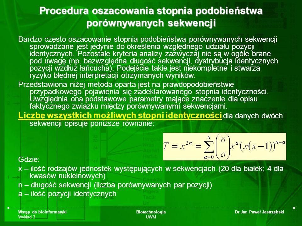 Wstęp do bioinformatyki Wykład 3 Biotechnologia UWM Dr Jan Paweł Jastrzębski Procedura oszacowania stopnia podobieństwa porównywanych sekwencji Bardzo