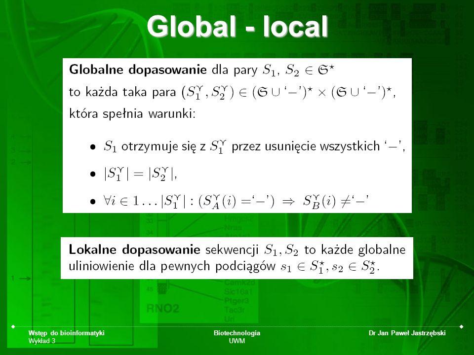 Wstęp do bioinformatyki Wykład 3 Biotechnologia UWM Dr Jan Paweł Jastrzębski Global - local