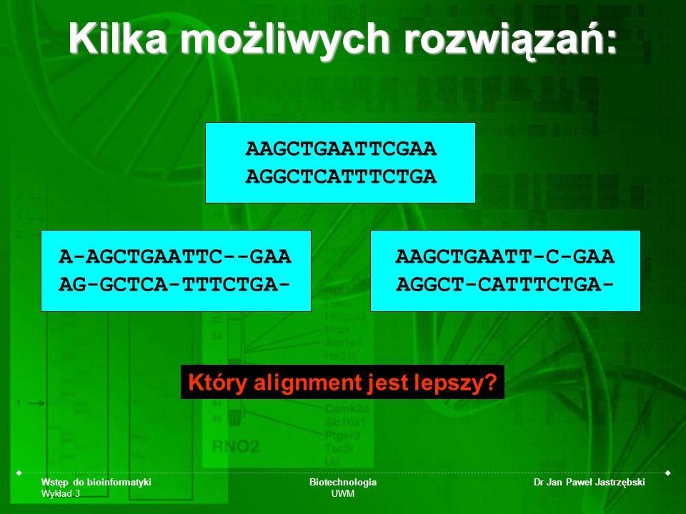 Wstęp do bioinformatyki Wykład 3 Biotechnologia UWM Dr Jan Paweł Jastrzębski Kilka możliwych rozwiązań: AAGCTGAATTCGAA AGGCTCATTTCTGA AAGCTGAATT-C-GAA