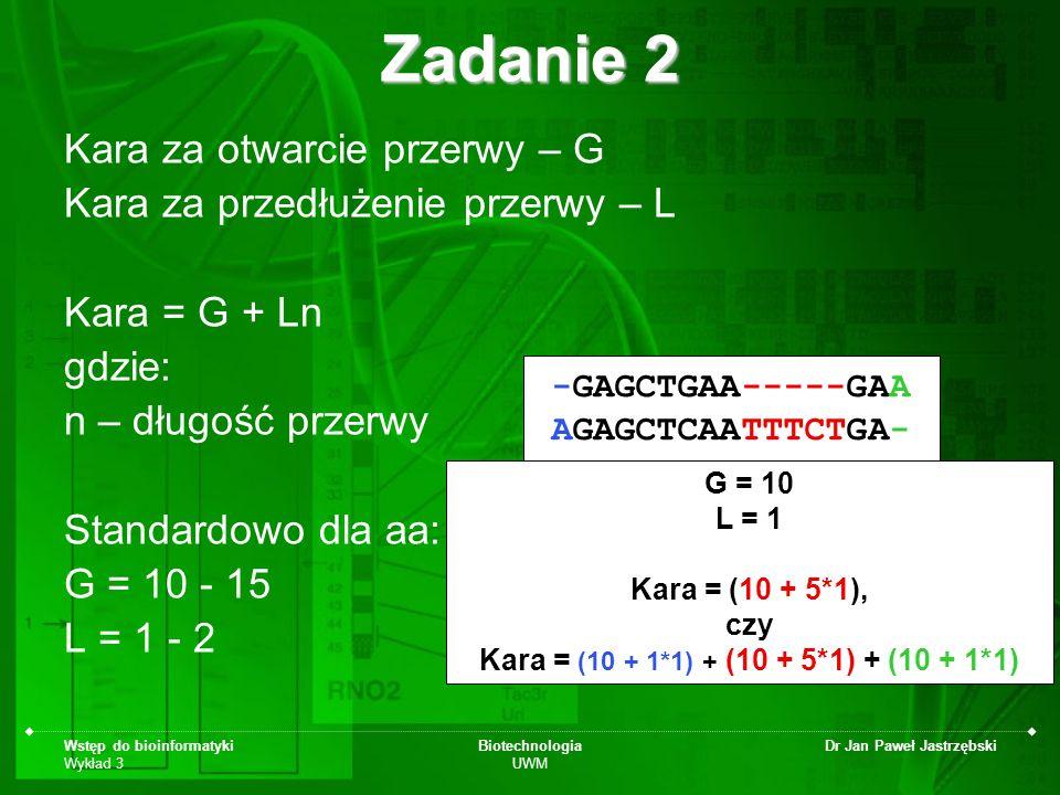 Wstęp do bioinformatyki Wykład 3 Biotechnologia UWM Dr Jan Paweł Jastrzębski Zadanie 2 Kara za otwarcie przerwy – G Kara za przedłużenie przerwy – L K