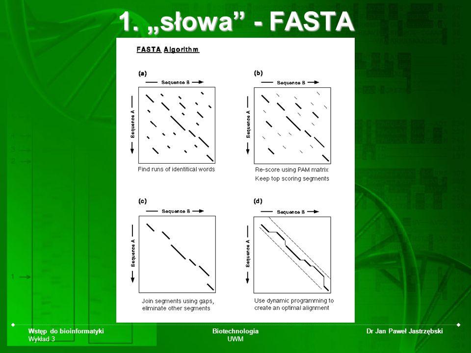 Wstęp do bioinformatyki Wykład 3 Biotechnologia UWM Dr Jan Paweł Jastrzębski 1. słowa - FASTA