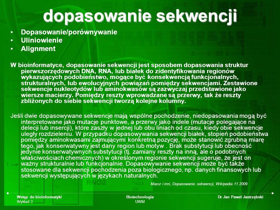 Wstęp do bioinformatyki Wykład 3 Biotechnologia UWM Dr Jan Paweł Jastrzębski dopasowanie sekwencji Dopasowanie/porównywanie Uliniowienie Alignment W b