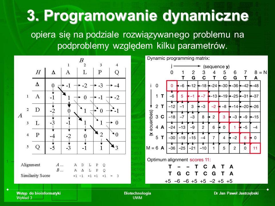 Wstęp do bioinformatyki Wykład 3 Biotechnologia UWM Dr Jan Paweł Jastrzębski 3. Programowanie dynamiczne opiera się na podziale rozwiązywanego problem