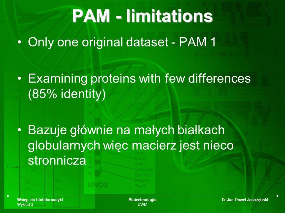 Wstęp do bioinformatyki Wykład 3 Biotechnologia UWM Dr Jan Paweł Jastrzębski PAM - limitations Only one original dataset - PAM 1 Examining proteins wi