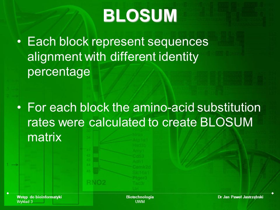 Wstęp do bioinformatyki Wykład 3 Biotechnologia UWM Dr Jan Paweł JastrzębskiBLOSUM Each block represent sequences alignment with different identity pe