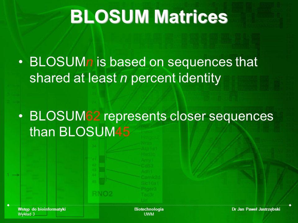 Wstęp do bioinformatyki Wykład 3 Biotechnologia UWM Dr Jan Paweł Jastrzębski BLOSUM Matrices BLOSUMn is based on sequences that shared at least n perc