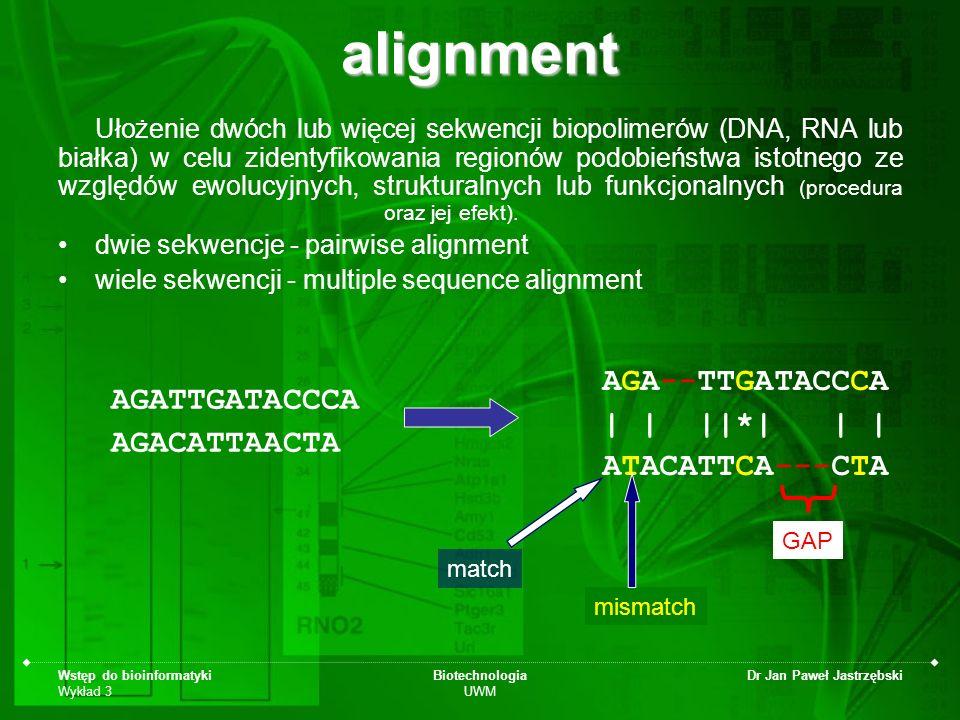 Wstęp do bioinformatyki Wykład 3 Biotechnologia UWM Dr Jan Paweł Jastrzębskialignment Ułożenie dwóch lub więcej sekwencji biopolimerów (DNA, RNA lub b