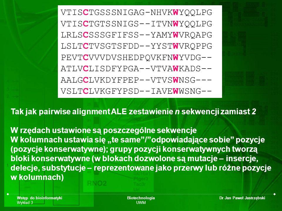 Wstęp do bioinformatyki Wykład 3 Biotechnologia UWM Dr Jan Paweł Jastrzębski VTISCTGSSSNIGAG-NHVKWYQQLPG VTISCTGTSSNIGS--ITVNWYQQLPG LRLSCSSSGFIFSS--Y