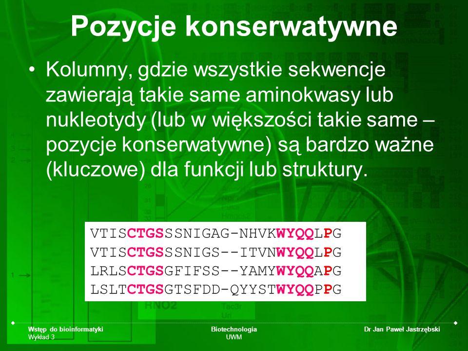 Wstęp do bioinformatyki Wykład 3 Biotechnologia UWM Dr Jan Paweł Jastrzębski Pozycje konserwatywne Kolumny, gdzie wszystkie sekwencje zawierają takie