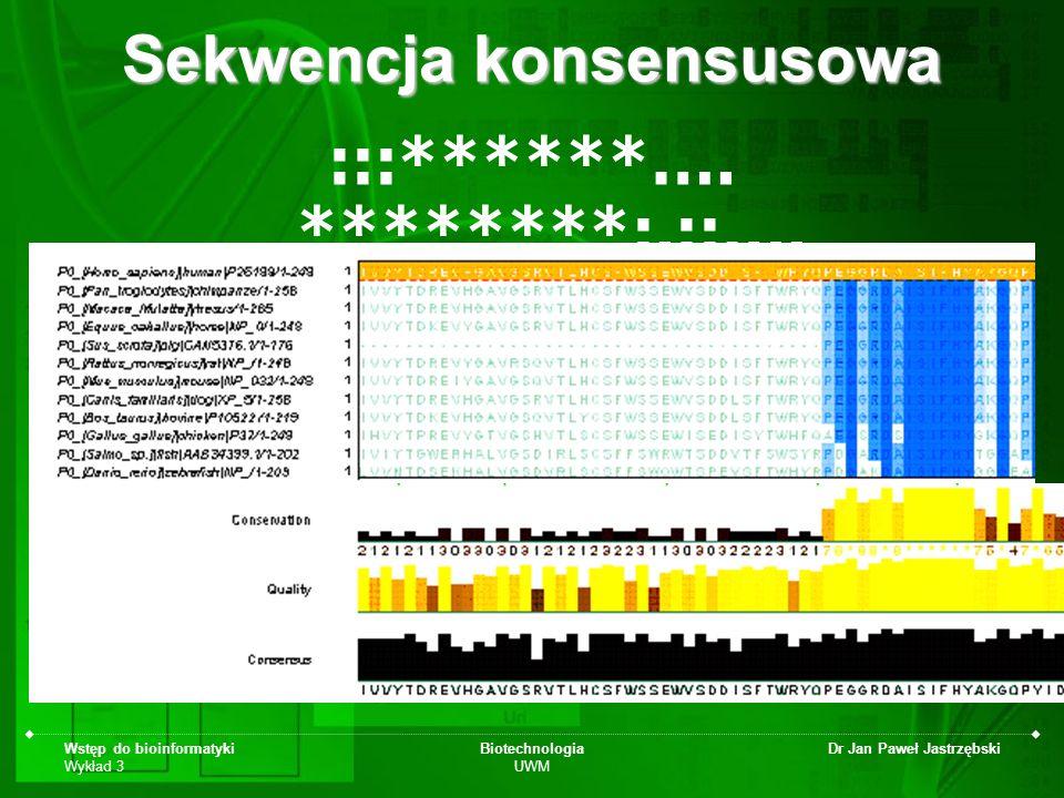 Wstęp do bioinformatyki Wykład 3 Biotechnologia UWM Dr Jan Paweł Jastrzębski Sekwencja konsensusowa :::******…. ********:.::….
