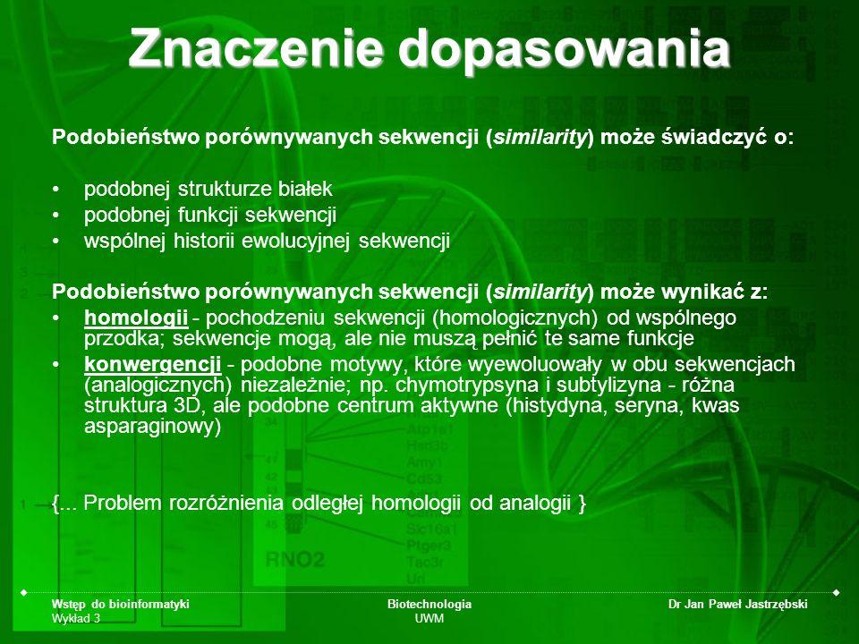 Wstęp do bioinformatyki Wykład 3 Biotechnologia UWM Dr Jan Paweł Jastrzębski Znaczenie dopasowania Podobieństwo porównywanych sekwencji (similarity) m