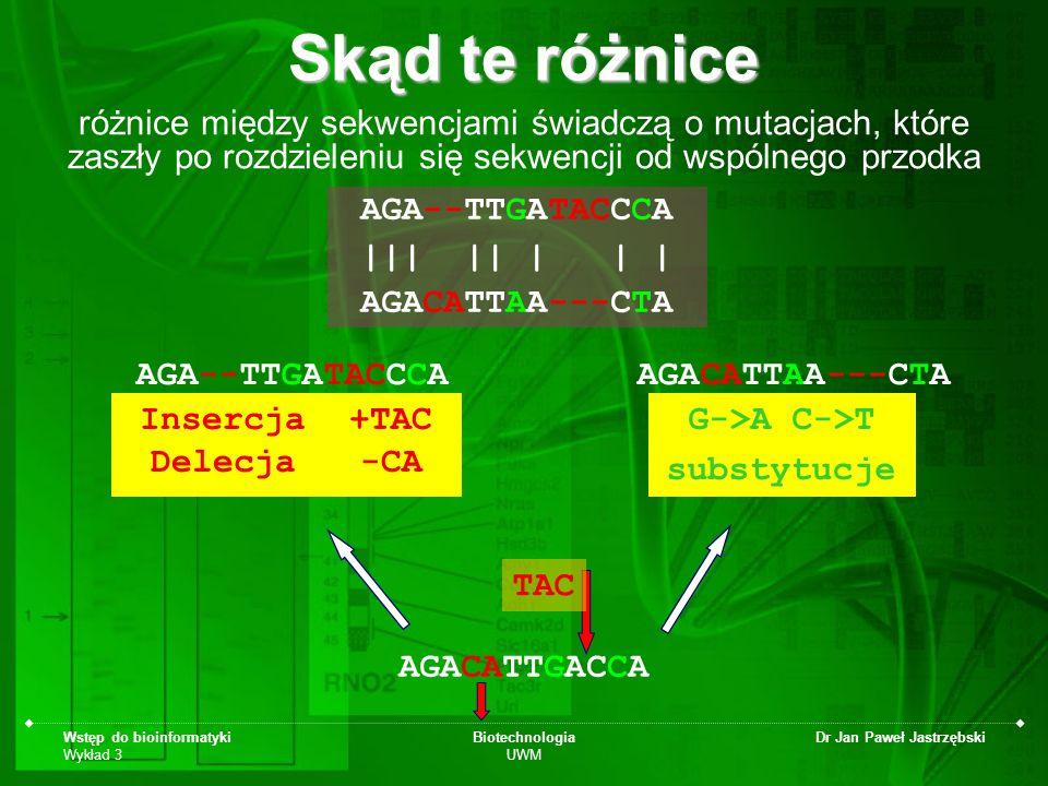 Wstęp do bioinformatyki Wykład 3 Biotechnologia UWM Dr Jan Paweł Jastrzębski Skąd te różnice różnice między sekwencjami świadczą o mutacjach, które za