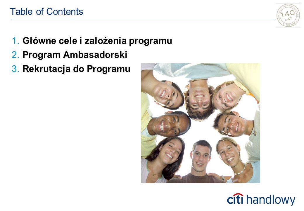Table of Contents 1.Główne cele i założenia programu 2.2.Program Ambasadorski 3.Rekrutacja do Programu