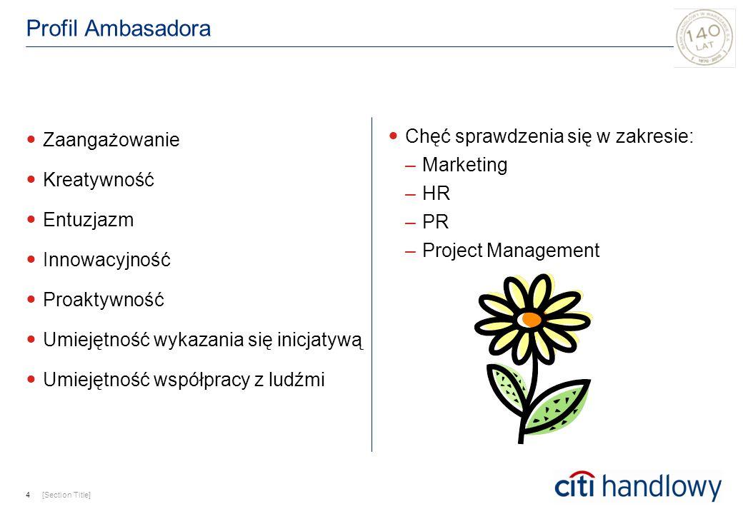 Profil Ambasadora Zaangażowanie Kreatywność Entuzjazm Innowacyjność Proaktywność Umiejętność wykazania się inicjatywą Umiejętność współpracy z ludźmi Chęć sprawdzenia się w zakresie: –Marketing –HR –PR –Project Management 4[Section Title]
