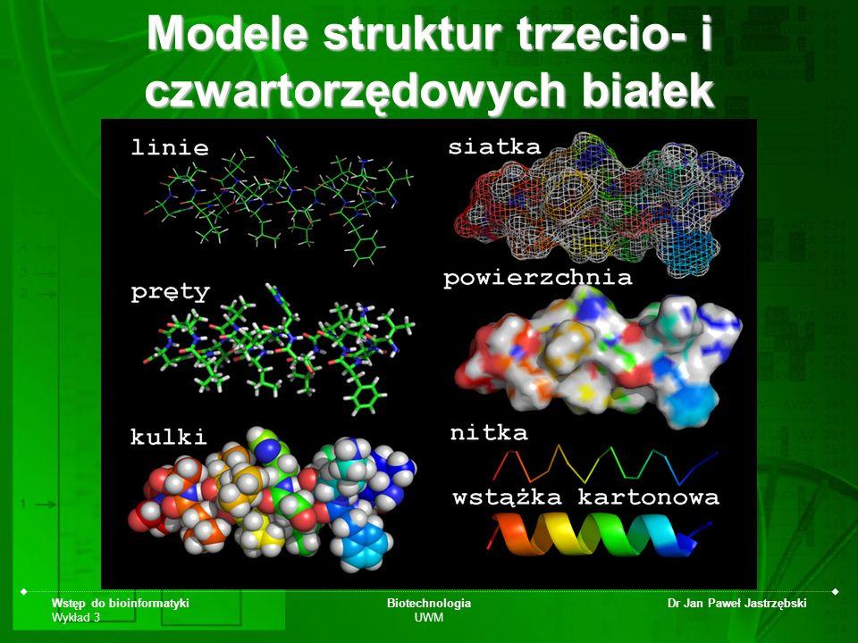 Wstęp do bioinformatyki Wykład 3 Biotechnologia UWM Dr Jan Paweł Jastrzębski Modele struktur trzecio- i czwartorzędowych białek