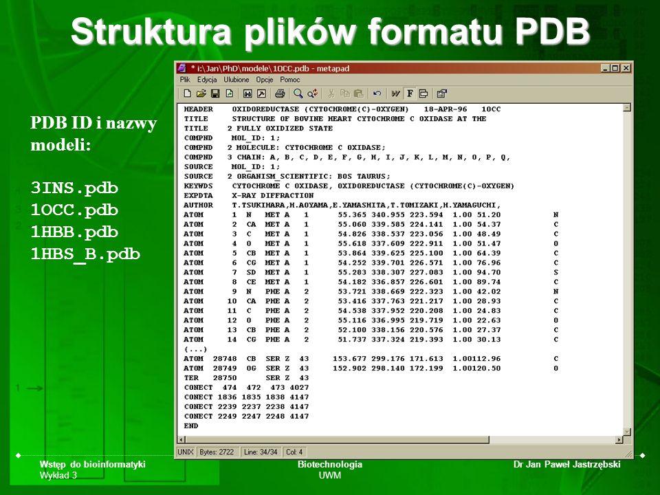 Wstęp do bioinformatyki Wykład 3 Biotechnologia UWM Dr Jan Paweł Jastrzębski Struktura plików formatu PDB PDB ID i nazwy modeli: 3INS.pdb 1OCC.pdb 1HB