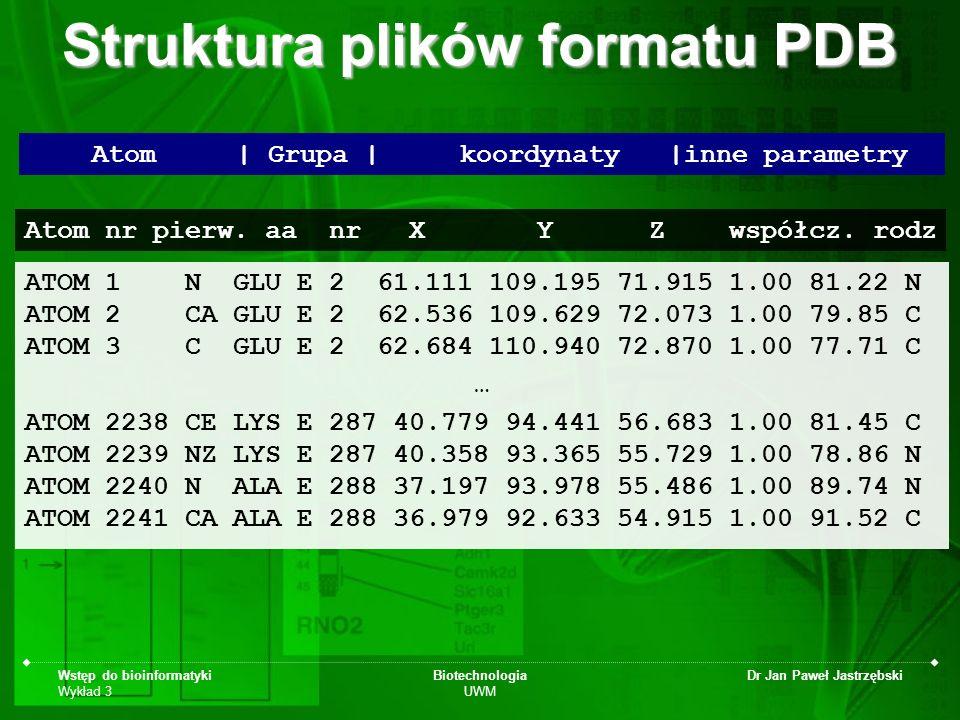 Wstęp do bioinformatyki Wykład 3 Biotechnologia UWM Dr Jan Paweł Jastrzębski ATOM 1 N GLU E 2 61.111 109.195 71.915 1.00 81.22 N ATOM 2 CA GLU E 2 62.