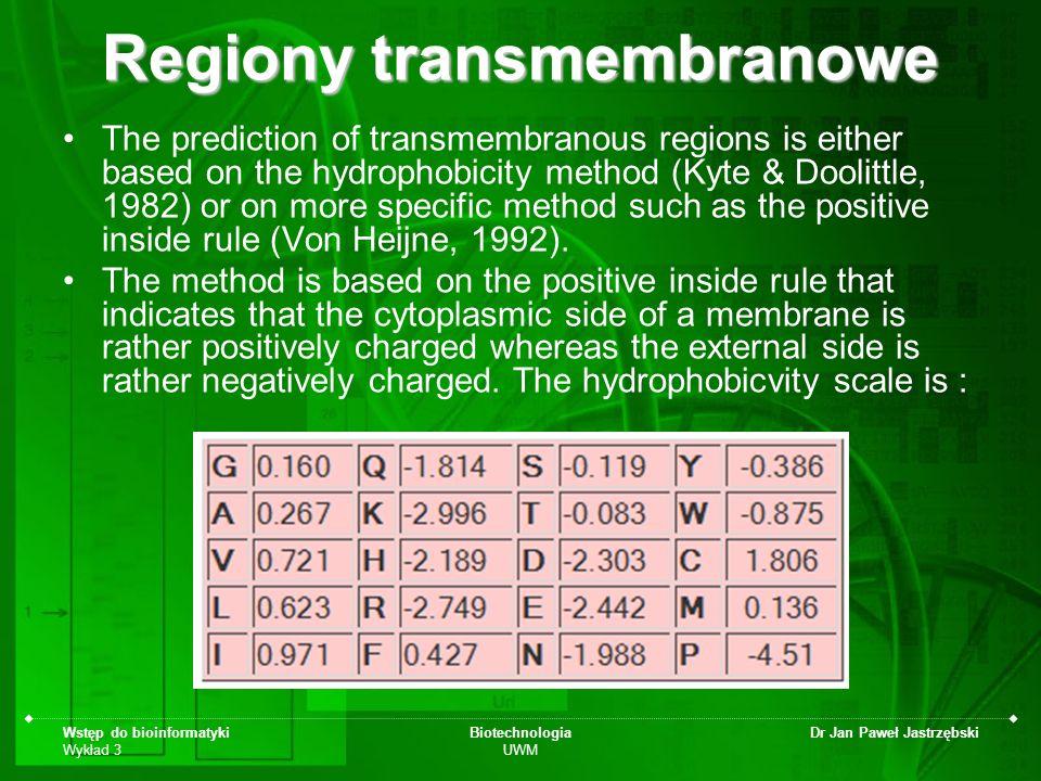 Wstęp do bioinformatyki Wykład 3 Biotechnologia UWM Dr Jan Paweł Jastrzębski Regiony transmembranowe The prediction of transmembranous regions is eith