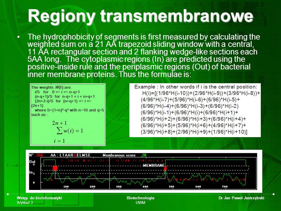 Wstęp do bioinformatyki Wykład 3 Biotechnologia UWM Dr Jan Paweł Jastrzębski Regiony transmembranowe The hydrophobicity of segments is first measured