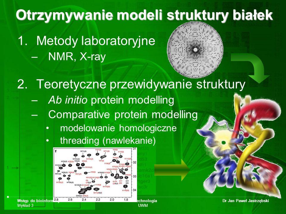 Wstęp do bioinformatyki Wykład 3 Biotechnologia UWM Dr Jan Paweł Jastrzębski Otrzymywanie modeli struktury białek 1.Metody laboratoryjne –NMR, X-ray 2