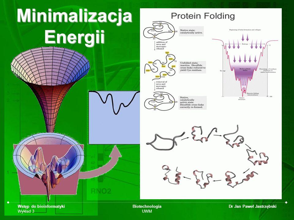 Wstęp do bioinformatyki Wykład 3 Biotechnologia UWM Dr Jan Paweł Jastrzębski Minimalizacja Energii