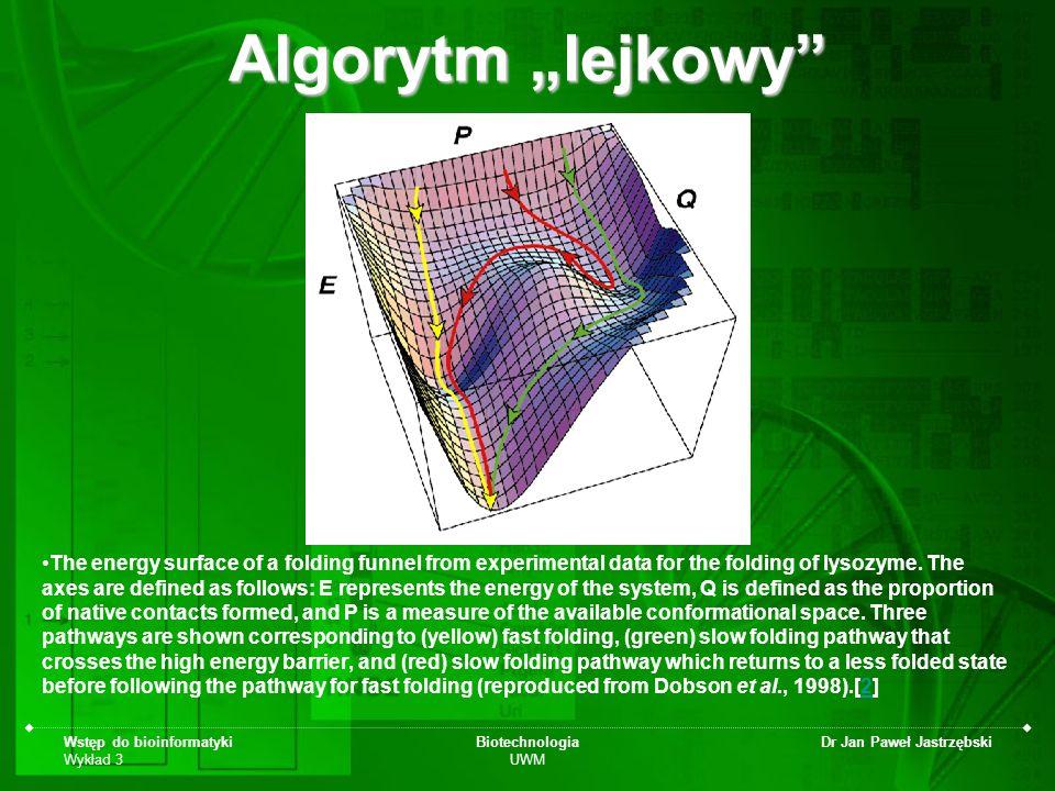 Wstęp do bioinformatyki Wykład 3 Biotechnologia UWM Dr Jan Paweł Jastrzębski Algorytm lejkowy The energy surface of a folding funnel from experimental