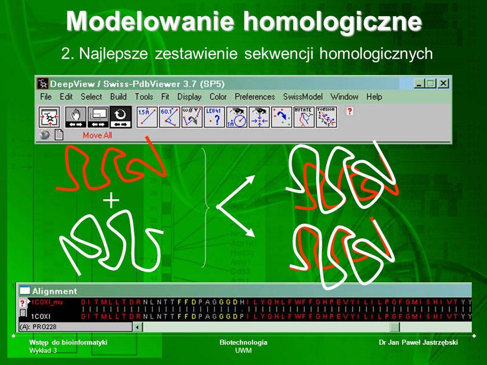 Wstęp do bioinformatyki Wykład 3 Biotechnologia UWM Dr Jan Paweł Jastrzębski 2. Najlepsze zestawienie sekwencji homologicznych Modelowanie homologiczn