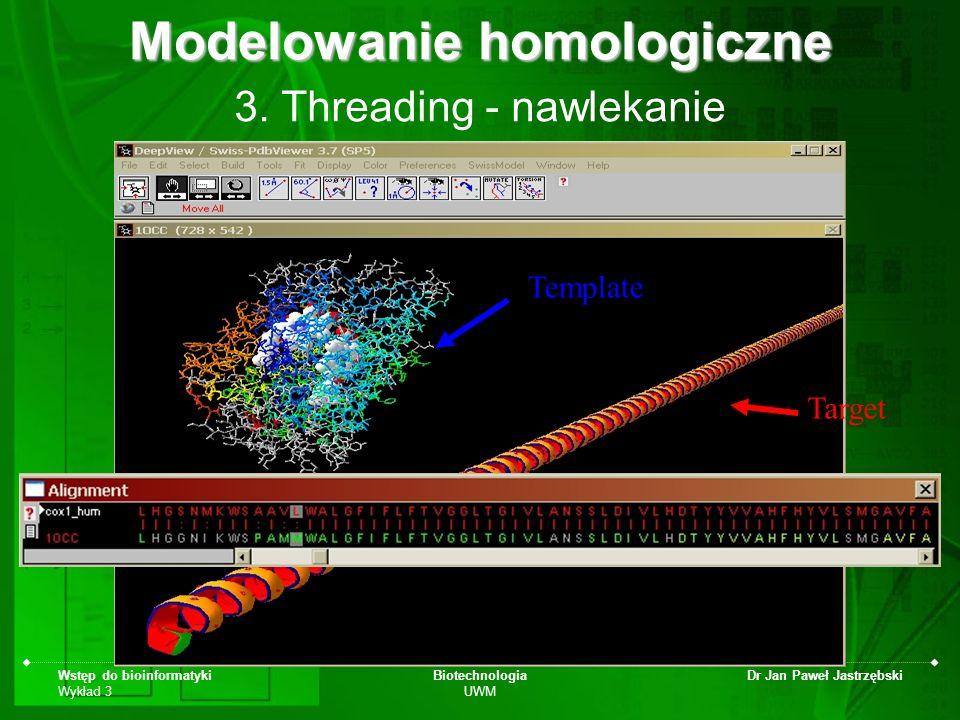 Wstęp do bioinformatyki Wykład 3 Biotechnologia UWM Dr Jan Paweł Jastrzębski 3. Threading - nawlekanie Modelowanie homologiczne Target Template