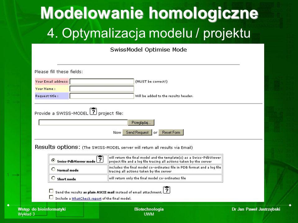 Wstęp do bioinformatyki Wykład 3 Biotechnologia UWM Dr Jan Paweł Jastrzębski 4. Optymalizacja modelu / projektu Modelowanie homologiczne