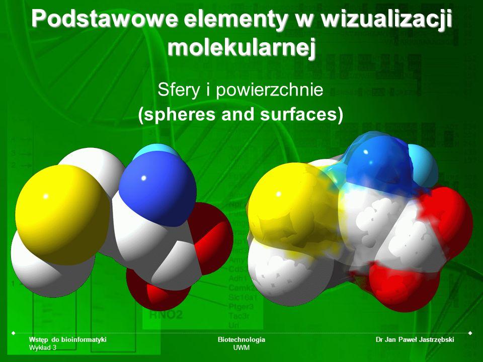 Wstęp do bioinformatyki Wykład 3 Biotechnologia UWM Dr Jan Paweł Jastrzębski Podstawowe elementy w wizualizacji molekularnej Sfery i powierzchnie (sph
