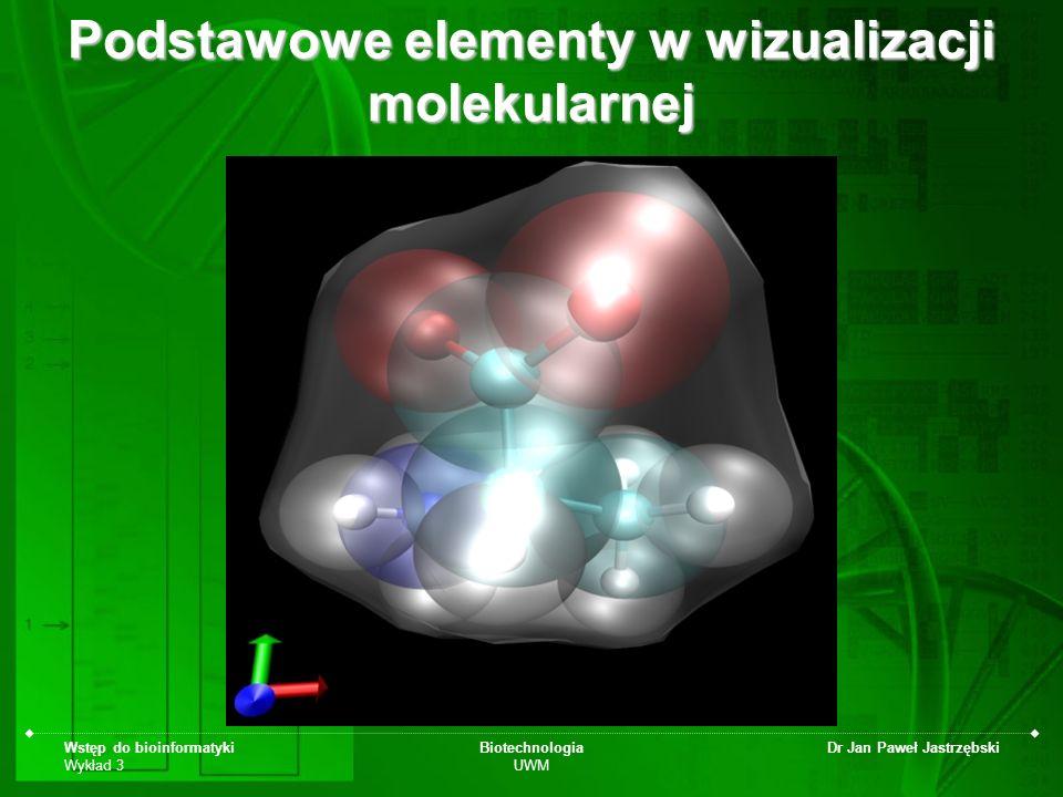 Wstęp do bioinformatyki Wykład 3 Biotechnologia UWM Dr Jan Paweł Jastrzębski Podstawowe elementy w wizualizacji molekularnej