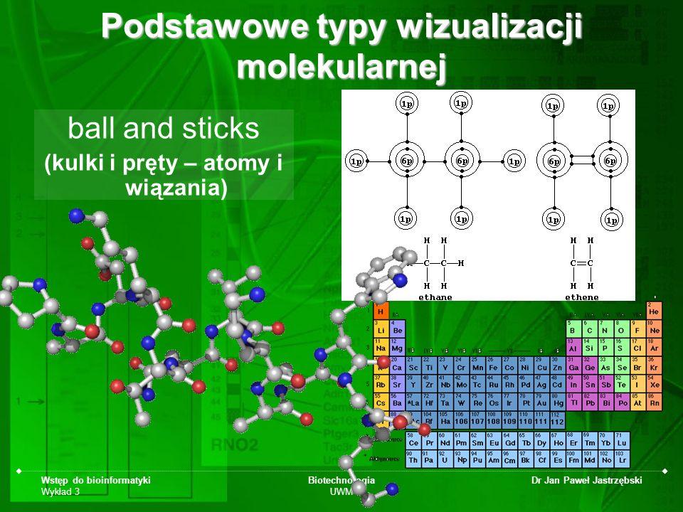 Wstęp do bioinformatyki Wykład 3 Biotechnologia UWM Dr Jan Paweł Jastrzębski Podstawowe typy wizualizacji molekularnej ball and sticks (kulki i pręty