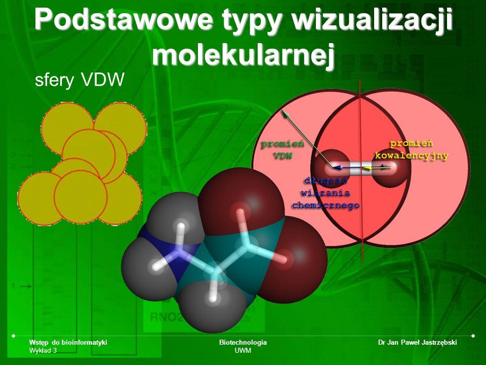 Wstęp do bioinformatyki Wykład 3 Biotechnologia UWM Dr Jan Paweł Jastrzębski sfery VDW Podstawowe typy wizualizacji molekularnej