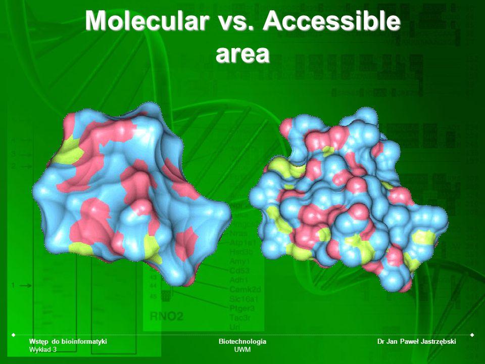 Wstęp do bioinformatyki Wykład 3 Biotechnologia UWM Dr Jan Paweł Jastrzębski Molecular vs. Accessible area