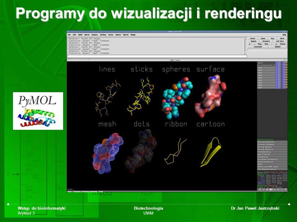 Wstęp do bioinformatyki Wykład 3 Biotechnologia UWM Dr Jan Paweł Jastrzębski Programy do wizualizacji i renderingu