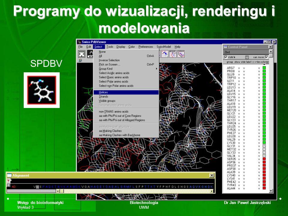 Wstęp do bioinformatyki Wykład 3 Biotechnologia UWM Dr Jan Paweł Jastrzębski SPDBV Programy do wizualizacji, renderingu i modelowania