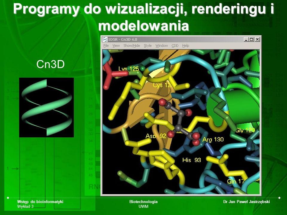 Wstęp do bioinformatyki Wykład 3 Biotechnologia UWM Dr Jan Paweł Jastrzębski Cn3D Programy do wizualizacji, renderingu i modelowania