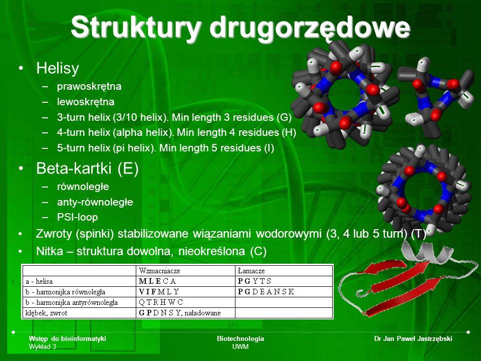 Wstęp do bioinformatyki Wykład 3 Biotechnologia UWM Dr Jan Paweł Jastrzębski Struktury drugorzędowe Helisy –prawoskrętna –lewoskrętna –3-turn helix (3