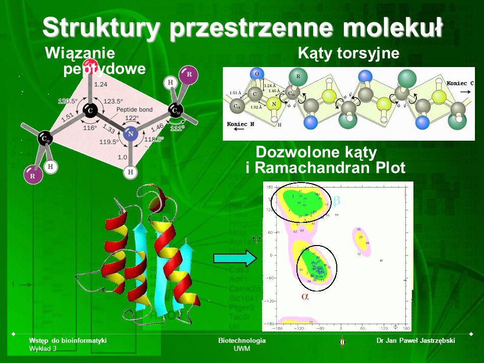 Wstęp do bioinformatyki Wykład 3 Biotechnologia UWM Dr Jan Paweł Jastrzębski Struktury przestrzenne molekuł Wiązanie peptydowe Kąty torsyjne Dozwolone