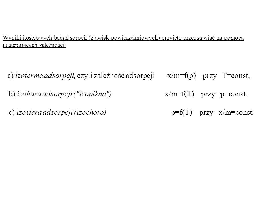 Wyniki ilościowych badań sorpcji (zjawisk powierzchniowych) przyjęto przedstawiać za pomocą następujących zależności: a) izoterma adsorpcji, czyli zal