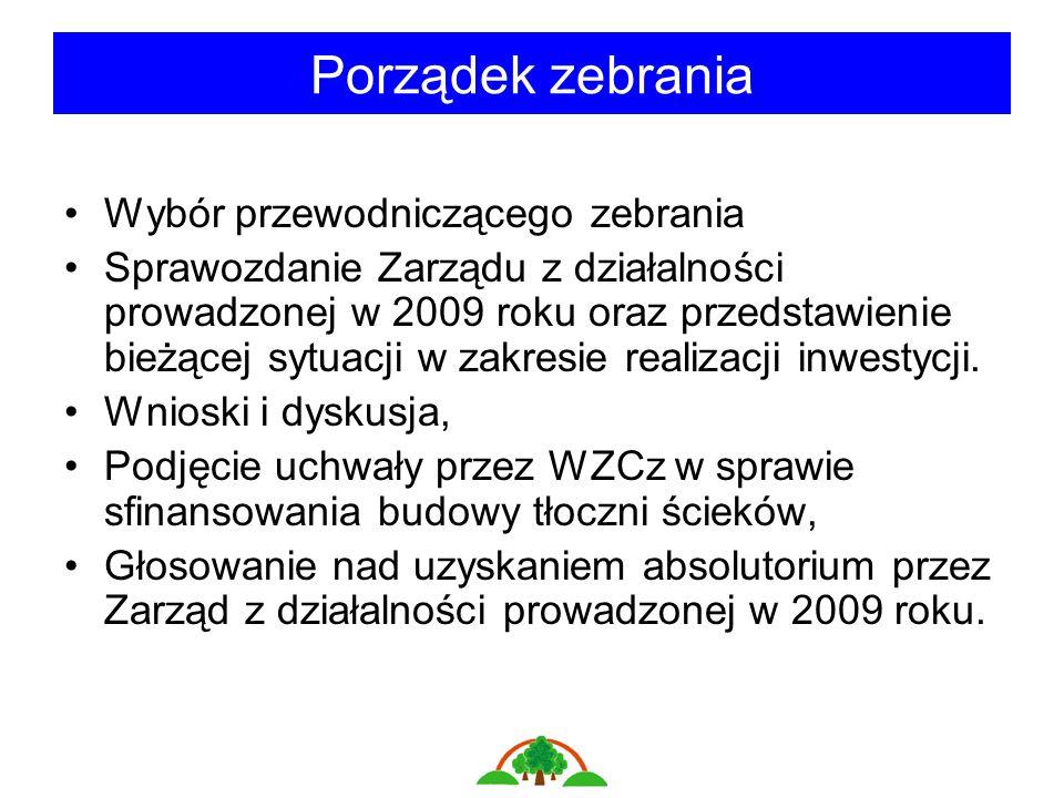 Porządek zebrania Wybór przewodniczącego zebrania Sprawozdanie Zarządu z działalności prowadzonej w 2009 roku oraz przedstawienie bieżącej sytuacji w zakresie realizacji inwestycji.