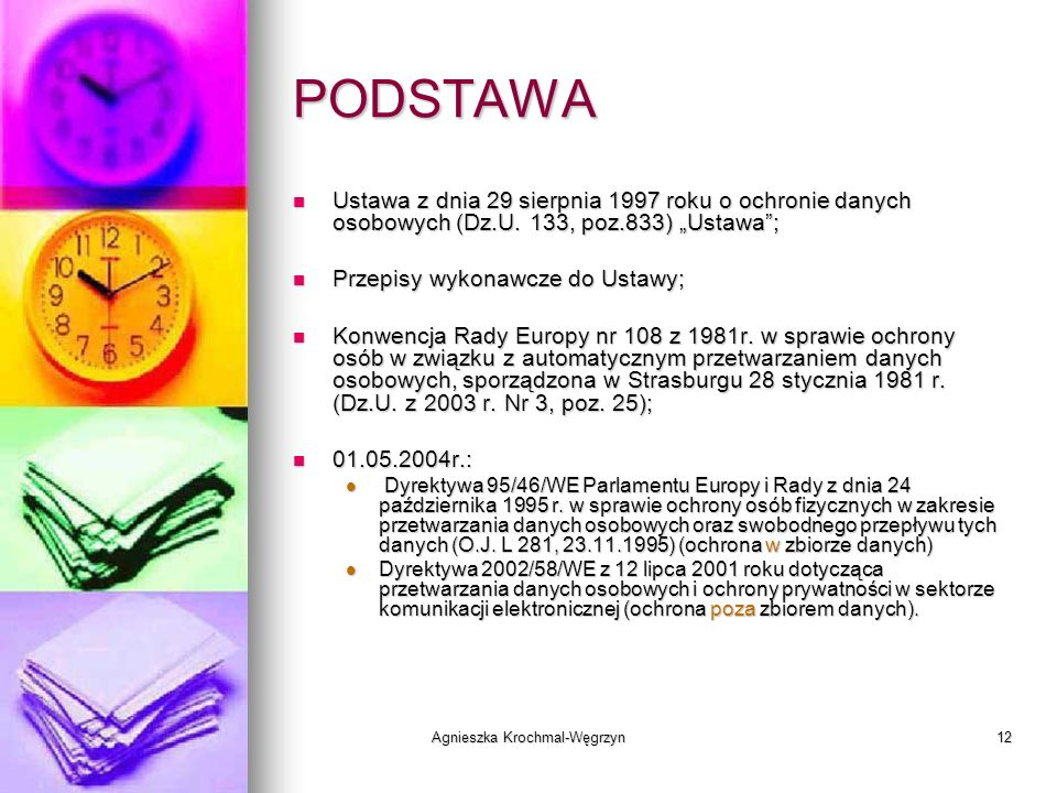 Agnieszka Krochmal-Węgrzyn12 PODSTAWA Ustawa z dnia 29 sierpnia 1997 roku o ochronie danych osobowych (Dz.U. 133, poz.833) Ustawa; Ustawa z dnia 29 si