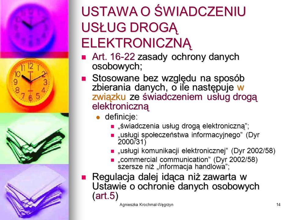 Agnieszka Krochmal-Węgrzyn14 USTAWA O ŚWIADCZENIU USŁUG DROGĄ ELEKTRONICZNĄ Art. 16-22 zasady ochrony danych osobowych; Art. 16-22 zasady ochrony dany