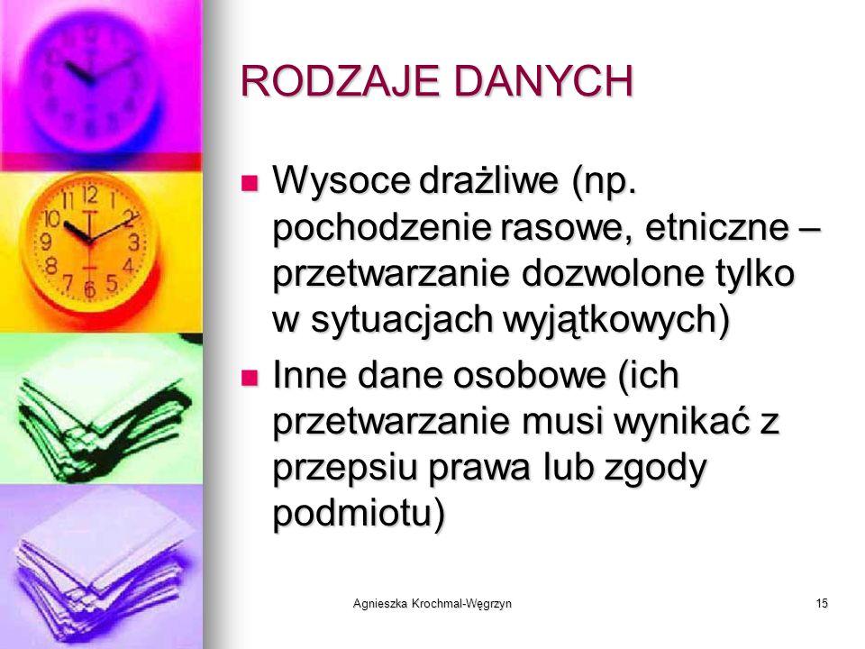 Agnieszka Krochmal-Węgrzyn15 RODZAJE DANYCH Wysoce drażliwe (np. pochodzenie rasowe, etniczne – przetwarzanie dozwolone tylko w sytuacjach wyjątkowych