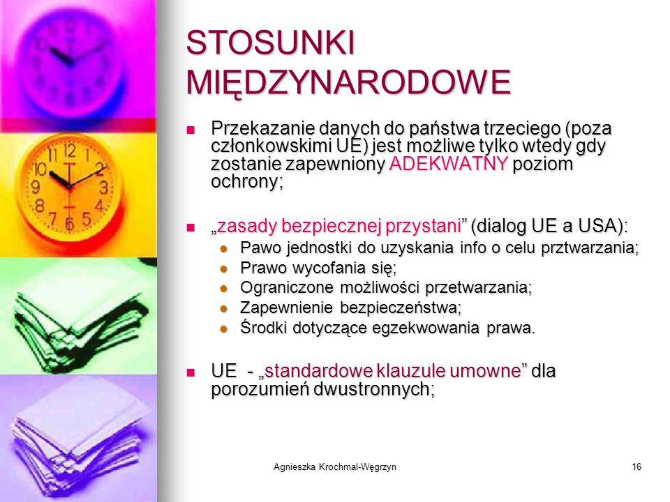 Agnieszka Krochmal-Węgrzyn16 STOSUNKI MIĘDZYNARODOWE Przekazanie danych do państwa trzeciego (poza członkowskimi UE) jest możliwe tylko wtedy gdy zost