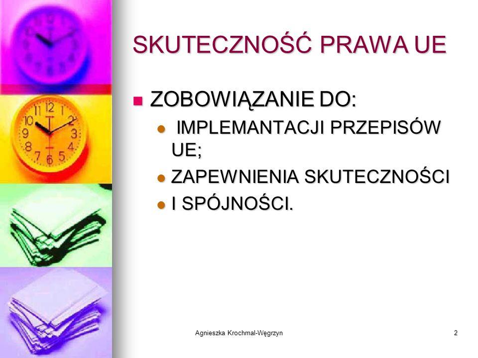 Agnieszka Krochmal-Węgrzyn2 SKUTECZNOŚĆ PRAWA UE ZOBOWIĄZANIE DO: ZOBOWIĄZANIE DO: IMPLEMANTACJI PRZEPISÓW UE; IMPLEMANTACJI PRZEPISÓW UE; ZAPEWNIENIA
