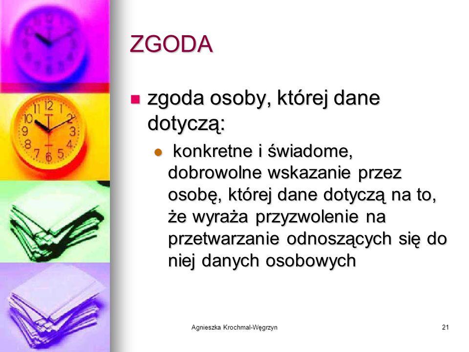 Agnieszka Krochmal-Węgrzyn21 ZGODA zgoda osoby, której dane dotyczą: zgoda osoby, której dane dotyczą: konkretne i świadome, dobrowolne wskazanie prze
